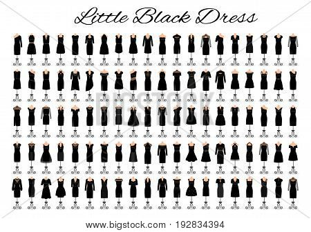 Fashion little black dresses. Set of one hundred cocktail dresses on a mannequins. Big collection of 100 evening gowns. Flat vector illustration.