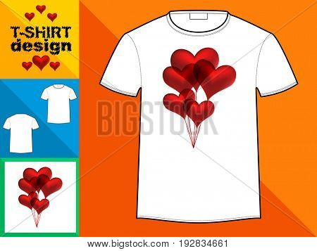 Template T-shirt with an trendy design: hearts balloons.