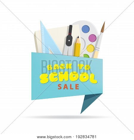 Tag Set Back To School Sale Blue Heading Design For Banner Or Poster. Sale And Discounts Concept. Ve