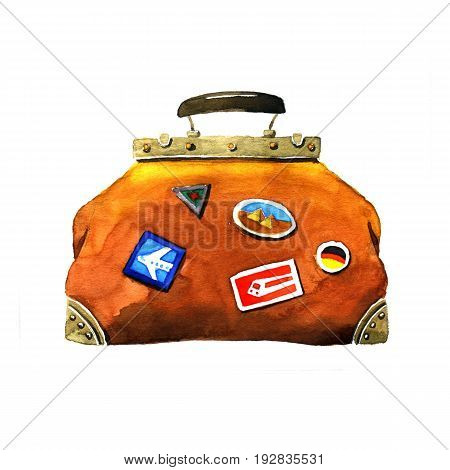 Traveling bag. Watercolor hand-drawn illustration on a white background