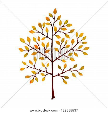 Tree. Hand-drawn watercolor image on white background