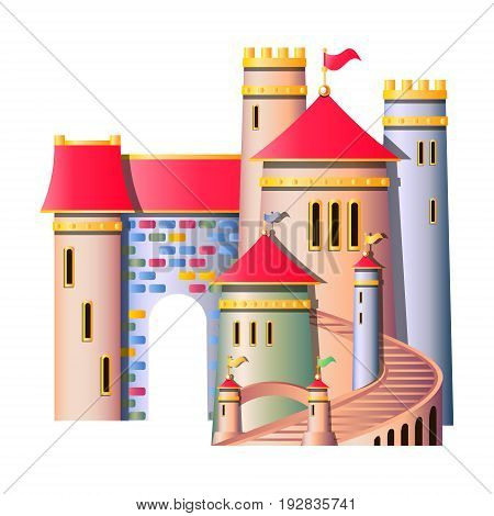 FairyTale castle isolated on white background vector illustration