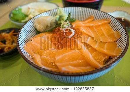 Salmon slice and salmon roe with rice Japanese food