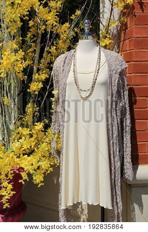 Vertical image of mannequin showcasing dress and shrug, with costume  jewelry around neck and the bright yellow of Springtime forsythia bush.