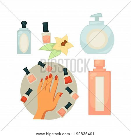 Spa salon equipment set for painting nails vector poster in flat design. Female hand with painted nails and jars with colors around, soap in plastic bottle, nail polish remover and other tools