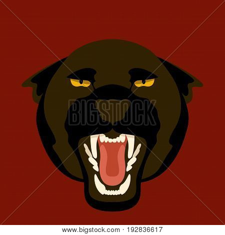 black Panther face  vector illustration style Flat  side front