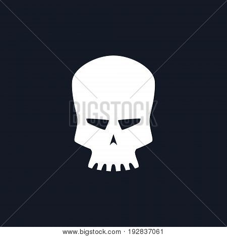 White Robot Skull Isolated Silhouette Skull on Black Background Death's-head Black and White Vector Illustration