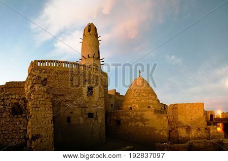 Exterior view to Al-Qasr old town and mosque in Dakhla oasis Egypt