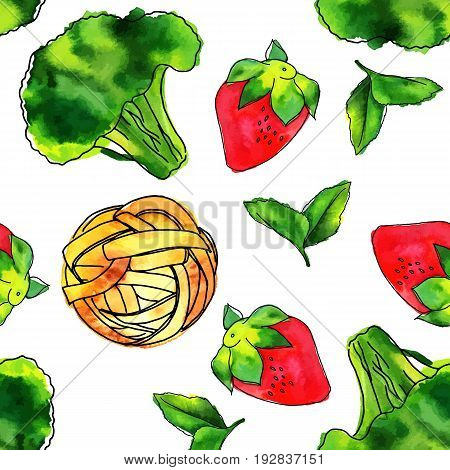 A seamless pattern of vector and watercolour vegan food themed drawings. Leaves of mint, strawberry, broccoli sprout, and pappardelle pasta nest, hand painted on a white background