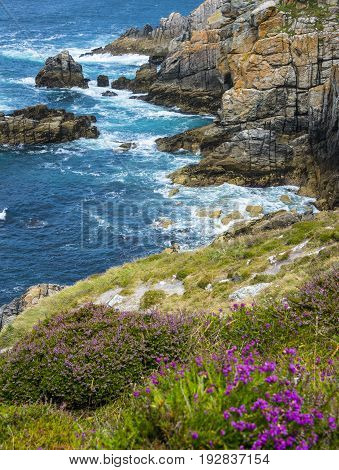 some beautiful coastal cliffs in Brittany France