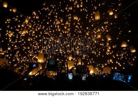 Floating lanterns. Loi Krathong and Yi Peng a traditional festival, Chiang Mai, Thailand