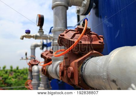 Red Pneumatic Control Valve in use close up