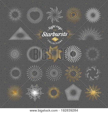 Set of vector starbursts. Vintage design elements. Retro style line art decorative sunbeams. Hand drawn sunshine shapes