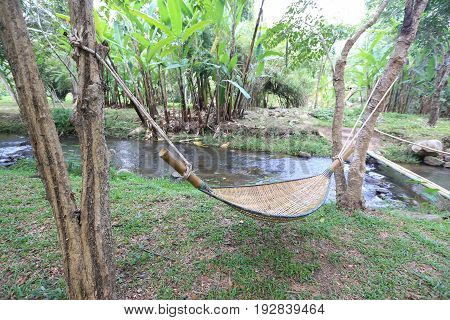 Relax bamboo stretcher in nature peaceful from Thailand