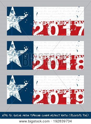 Texan Flag Independence Day Timeline Cover - Artistic Brush Strokes And Splashes
