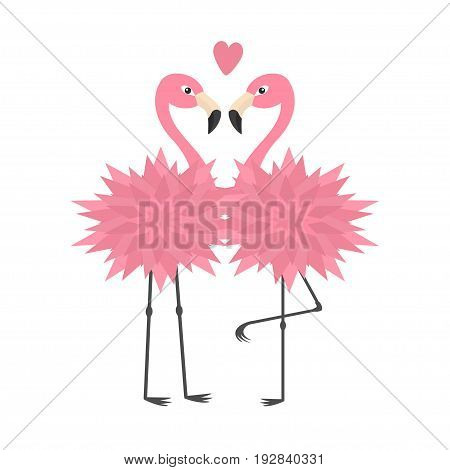 Two flamingo set. Pink heart. Flower body. Exotic tropical bird. Zoo animal collection. Cute cartoon character. Decoration element. Love card. Flat design White background Isolated Vector illustration