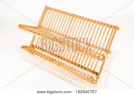 Close-up of wooden dish holder Object on a White Background