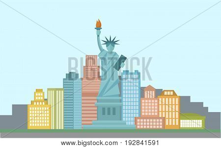 Concept banner of United states of America with statue of liberty