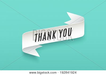 Paper ribbon with text Thank You. Colorful vintage banner with white paper ribbon with shadow and motivation message thank you. Hand-drawn element for design - banners, posters. Vector Illustration