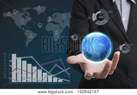 Businessman holding global. concept growth financial analysis graph.