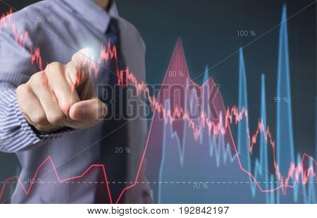 business hand point Trading Stock Graph Chart homepage. invesment analysis concept.