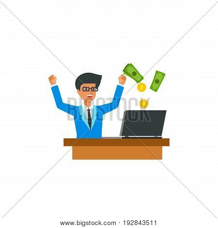 Businessman sitting at computer and rejoicing online earnings. Online casino, betting, freelancer. Gambling concept. Can be used for topics like online games, business, internet