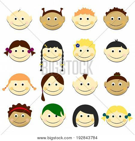 Kids smile faces set vector illustration. Portraits with smile and various hairstyle