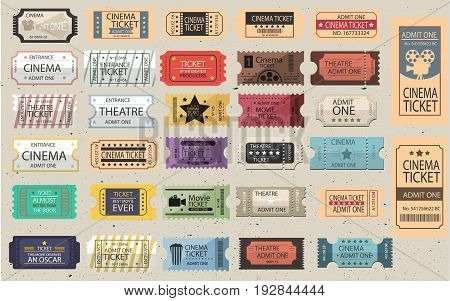 Colletion of 30 isolated Retro tickets in different styles