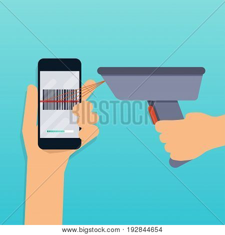A barcode scanner scanning a bar code on a mobile phone. Flat design modern vector illustration concept.