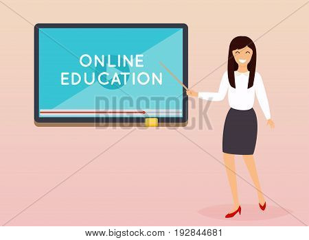 Online education concept. Teacher with tablet. E-learning. Flat design modern vector illustration concept.