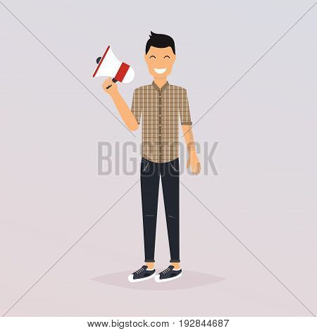 Man speaking through megaphone. Social media marketing concept. Promoter advertising using megaphone. Flat design modern vector illustration concept.
