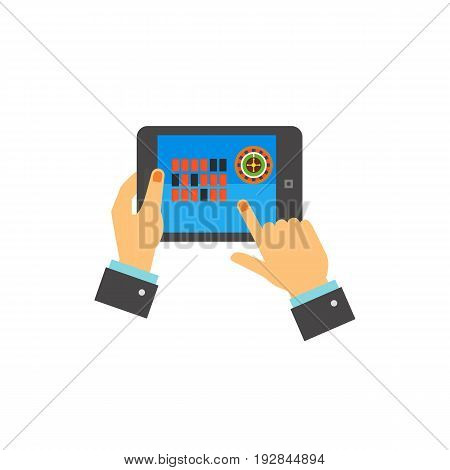 Vector icon of hands of man playing online casino on touchpad. Online games, casino, addiction. Gambling concept. Can be used for topics like internet, business, hobby