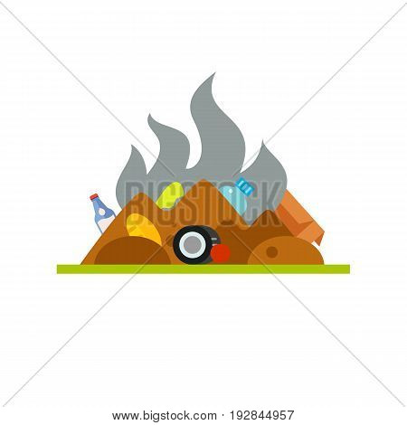 Vector icon of stinking trash dump. Landfill, pollution, waste storage. Garbage collectors concept. Can be used for topics like ecology, environment, sanitation