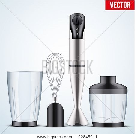 Electrical Immersion Hand Blender with equipment. Speed Food Blender Stick, Food Processor, Whisk and Beaker for Smoothies.