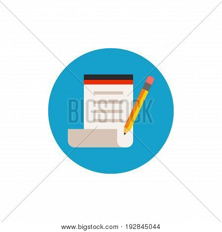Icon of taking note. Paper, pencil, creativity. Blogging concept. Can be used for topics like author, writer or journalism