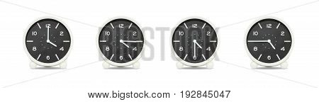 Closeup group of black and white clock for decorate show the time in 4 4:15 4:30 4:45 p.m. isolated on white background beautiful 4 clock picture in different time