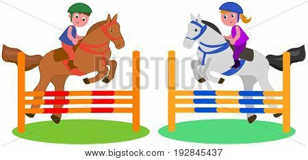 Boy and girl jumping with horses vector illustration isolated on white