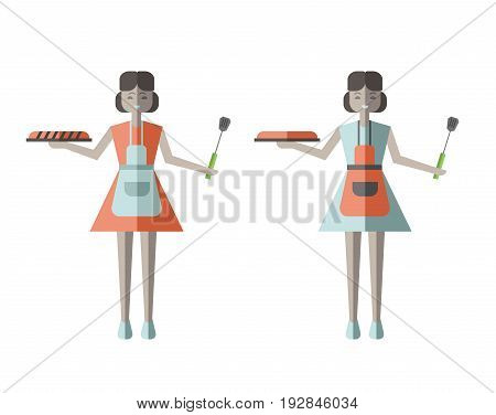 Housewife woman holding Fresh Baked Pie. Vector illustration in flat style, isolated on white background.