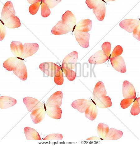Watercolor seamless pattern with pink and orange butterflies