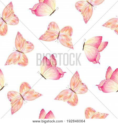 Watercolor colorful butterflies hand drawn on white background