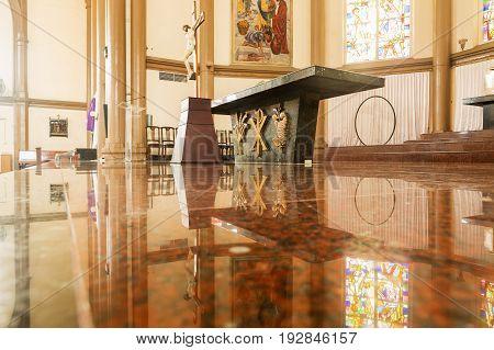 Surabaya Indonesia - MARCH 25 2016. Marble altar table in the church St Bonaficius Free Catholic Church. Catholic church in Surabaya Java Indonesia