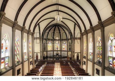 Surabaya Indonesia - MARCH 25 2016. St Bonaficius Free Catholic Church. Catholic church in Surabaya Java Indonesia
