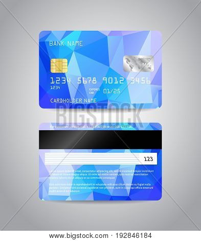 Realistic detailed credit cards set with colorful light blue abstract triangular design background. Front and back side template. Money, payment symbol. Vector illustration EPS10