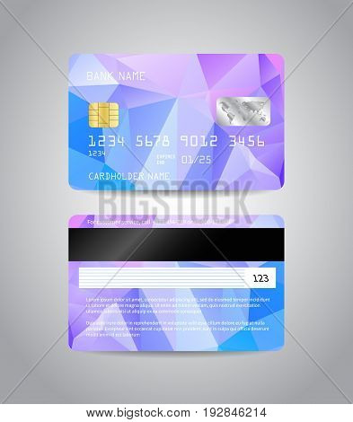 Realistic detailed credit cards set with colorful blue abstract triangular design background. Front and back side template. Money, payment symbol. Vector illustration EPS10