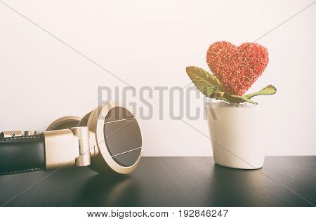 Headphone with heart flower for Music Love song concept