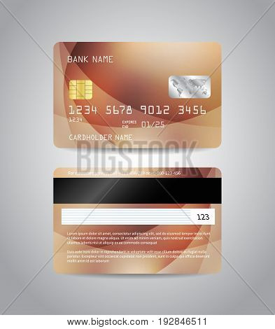 Realistic detailed credit cards set with colorful bronze abstract design background. Bronze card. Beige card. Front and back side template. Money, payment symbol. Vector illustration EPS10
