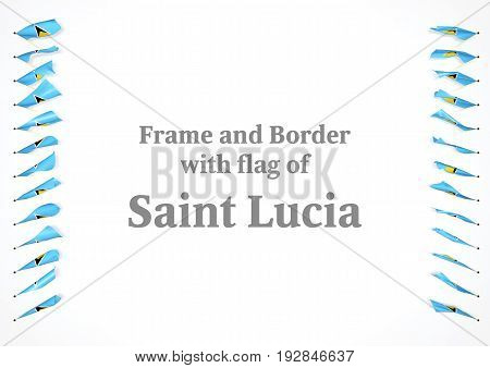 Frame And Border With Flag Of Saint Lucia. 3D Illustration