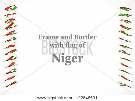 Frame And Border With Flag Of Niger. 3D Illustration