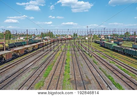 City nodal railway yard on which sorting of freight railway trains takes place