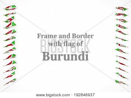 Frame And Border With Flag Of Burundi. 3D Illustration